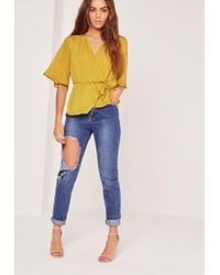 Missguided - Satin Elastic Waist Tie Front Blouse Chartreuse Green - Lyst