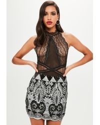 Missguided - Black Lace High Neck Bodysuit - Lyst