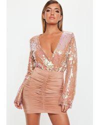Missguided - Blush Sequin Wrapover Bodysuit - Lyst