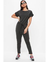 Missguided - Grey Slouch Jumpsuit - Lyst