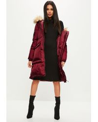 Missguided - Burgundy Oversized Faux Fur Hood Padded Jacket - Lyst