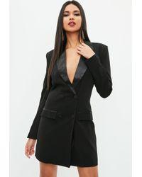 Missguided - Black Blazer Tux Dress - Lyst