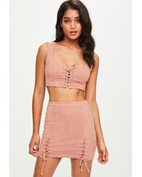 Missguided - Pink Faux Suede Eyelet Lace Up Detail Co Ord - Lyst