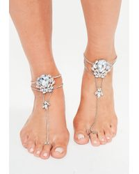 Missguided - Silver Statement Diamond Hand/ Foot Chain - Lyst