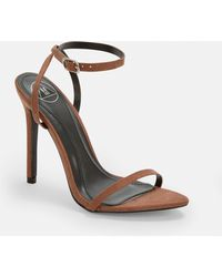 2a14e2d237b Missguided Block Heeled Barely There Sandals Tan in Brown - Lyst