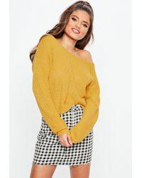 Missguided - Mustard Yellow Crop Off Shoulder Jumper - Lyst