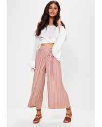 Missguided - Pink Pleated Culottes With Skinny Tie Belt - Lyst