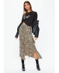 Missguided - Brown Leopard Print Hanky Hem Midi Skirt - Lyst