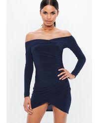 Missguided - Navy Wrap Bardot Bodycon Dress - Lyst