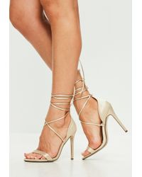 Missguided - Gold Lace Up Barely There Heels - Lyst