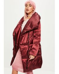 Missguided - Burgundy Waterfall Padded Jacket - Lyst