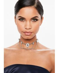 Missguided - Silver Chain Diamante Necklace - Lyst