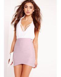 Missguided   Petite Asymmetric Bandage Mini Skirt Lilac   Lyst