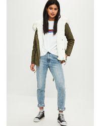 Missguided - Tall Khaki Short Fur Lined Parka Coat - Lyst