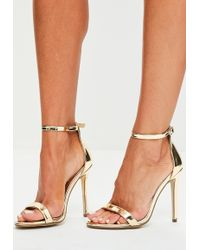 Missguided - Gold Two Strap Barley There Heels - Lyst