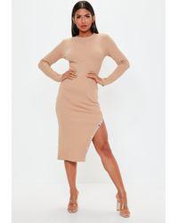 Missguided - Nude Long Sleeve Popper Asymmetric Dress - Lyst