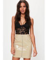c9b067caa Missguided - Cream Vinyl Zip Through Mini Skirt - Lyst