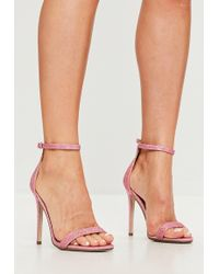 Missguided   Pink Glitter Two Strap Barely There Heels   Lyst