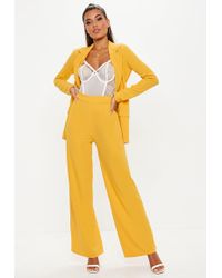 Missguided - Mustard Stretch Crepe Wide Leg Trousers - Lyst