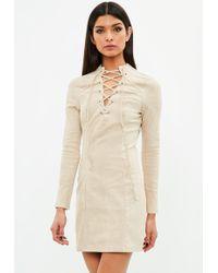 Missguided - Beige Suedette Dress Tie Front Long Sleeve - Lyst