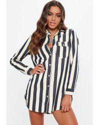 Missguided - Petite White Stripe Denim Shirt Dress - Lyst