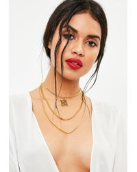 Missguided - Gold Triple Chain Layered Pendant - Lyst