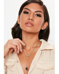 Missguided - Gold Look Coin Thread Layered Necklace - Lyst