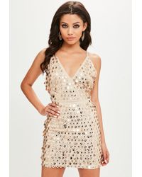 Missguided - Gold Strappy Plunge Glitter Sequin Dress - Lyst