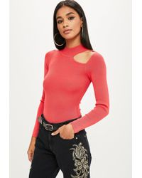 Missguided - Pink Knitted Keyhole High Neck Bodysuit - Lyst