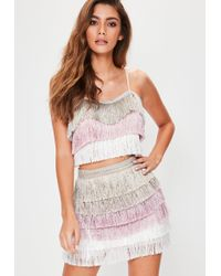 Missguided - Pink Multi Tiered Fringe Stripe Mini Skirt - Lyst