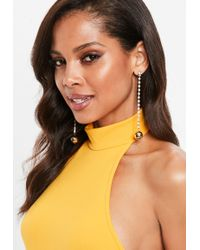 Missguided - Gold Diamante Chain Drop Earrings - Lyst