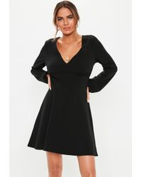 e038a475d56 Missguided Petite Wide V Neck T Shirt Dress Black in Black - Lyst