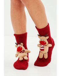 Missguided - Brown Reindeer Boxed Socks - Lyst