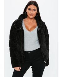 Missguided - Plus Size Black Faux Fur Puffer Jacket - Lyst