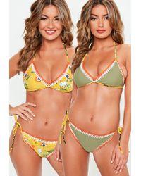 Missguided - Yellow And Khaki Reversible Crochet Triangle Bikini Set - Lyst