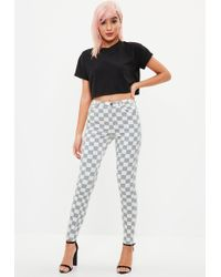 Missguided - Gray Vice Highwaisted Plaid Skinny Jean - Lyst