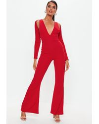 65bdaff9a1 Missguided - Red Long Sleeve Cut Out Jumpsuit - Lyst