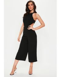 32d702c2c628 Lyst - Missguided Black High Neck Long Sleeve Culotte Jumpsuit in Black