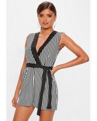 Missguided - Stripe Sleeveless Belted Romper - Lyst