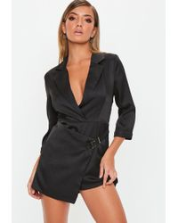 c40ee26b158 Missguided Black Satin Lapel Wrap Sleeveless Blazer Playsuit in ...