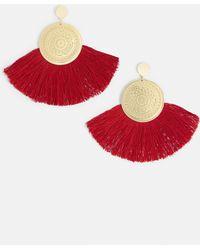 Missguided - Gold Coin Drop Red Fan Tassel Earrings - Lyst