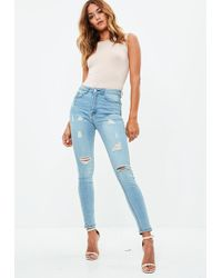 909b9c34f0d Missguided Blue Sinner High Waisted Authentic Ripped Skinny Jeans in ...