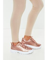 Missguided - Rose Gold Metallic Chunky Trainers - Lyst