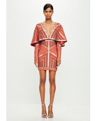 Missguided - Peace + Love Orange Kimono Embellished Dress - Lyst