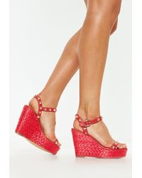 Missguided - Red Studded Strap Wedge Sandals - Lyst