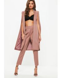 Missguided - Pink Pleat Front Cigarette Trousers - Lyst