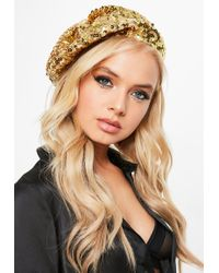 Missguided - Gold Sequin Beret - Lyst