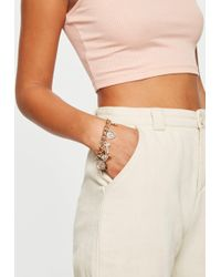 Missguided - Gold Look Chunky Diamante Coin And Cross Bracelet - Lyst