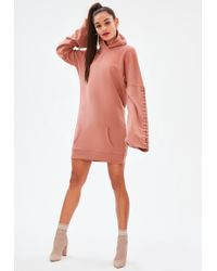 Missguided - Pink Eyelet Long Sleeve Hooded Sweater Dress - Lyst