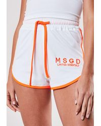 Missguided White Co Ord Msgd Contrast Binding Gym Runner Shorts